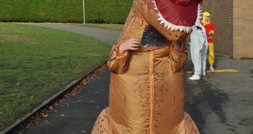 T-Rex on the loose on Halloween
